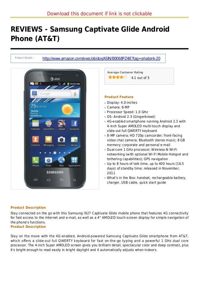 Samsung captivate glide android phone att