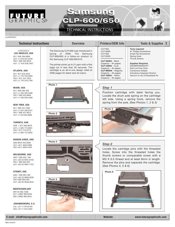 Manual de Recarga Samsung CLP 600 CLP 650