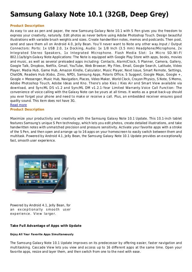 Samsung galaxy note 10.1 (32 gb, deep grey)