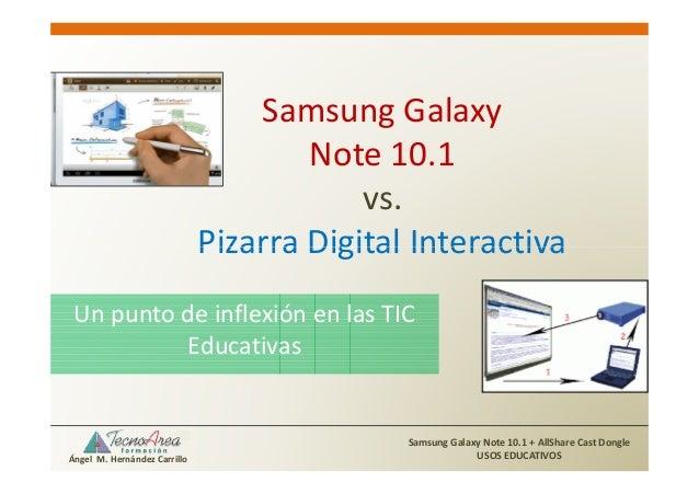 Samsung Galaxy Note 10.1 vs. Pizarra Digital Interactiva Un punto de inflexión en las TIC Educativas  Ángel M. Hernández C...