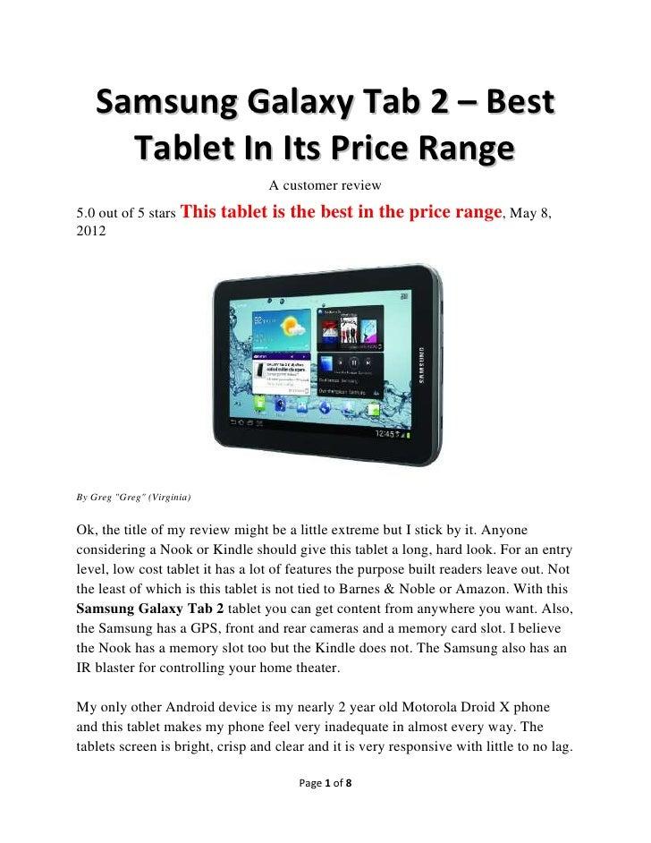 Samsung Galaxy Tab 2 – Best      Tablet In Its Price Range                                  A customer review5.0 out of 5 ...