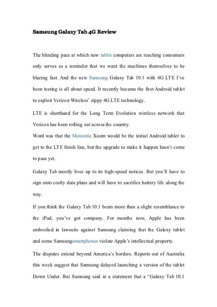 Samsung galaxy tab 4 g review