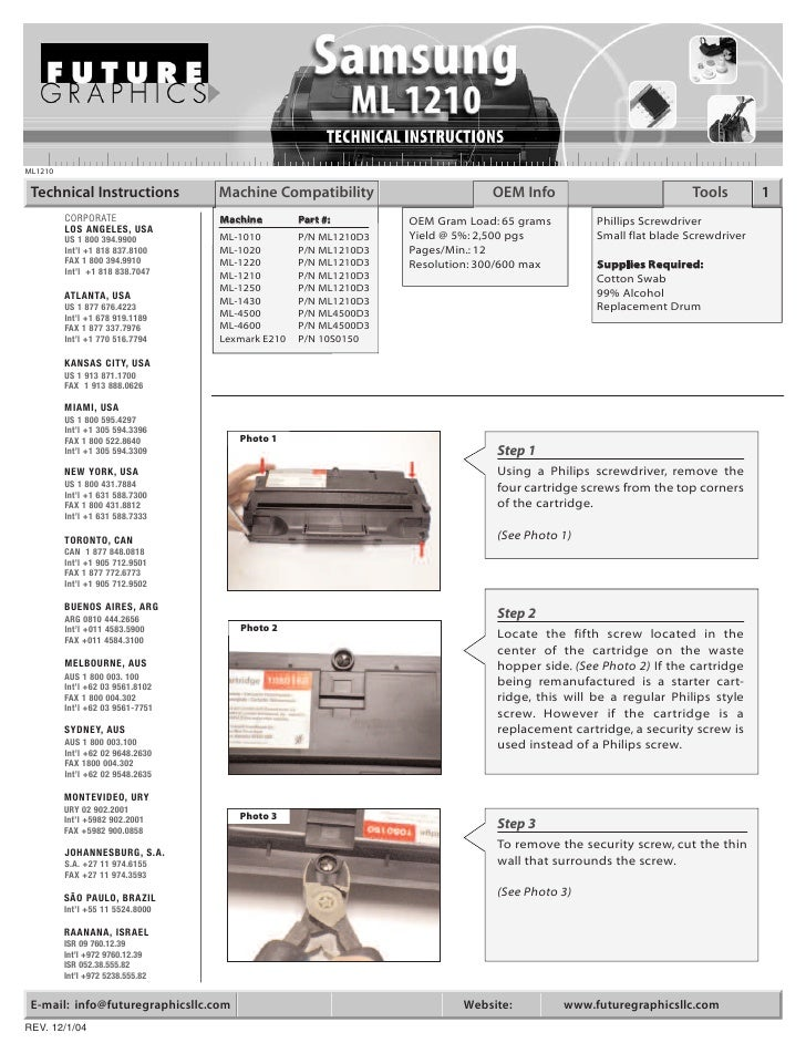 ML1210   Technical Instructions           Machine Compatibility                      OEM Info                           To...