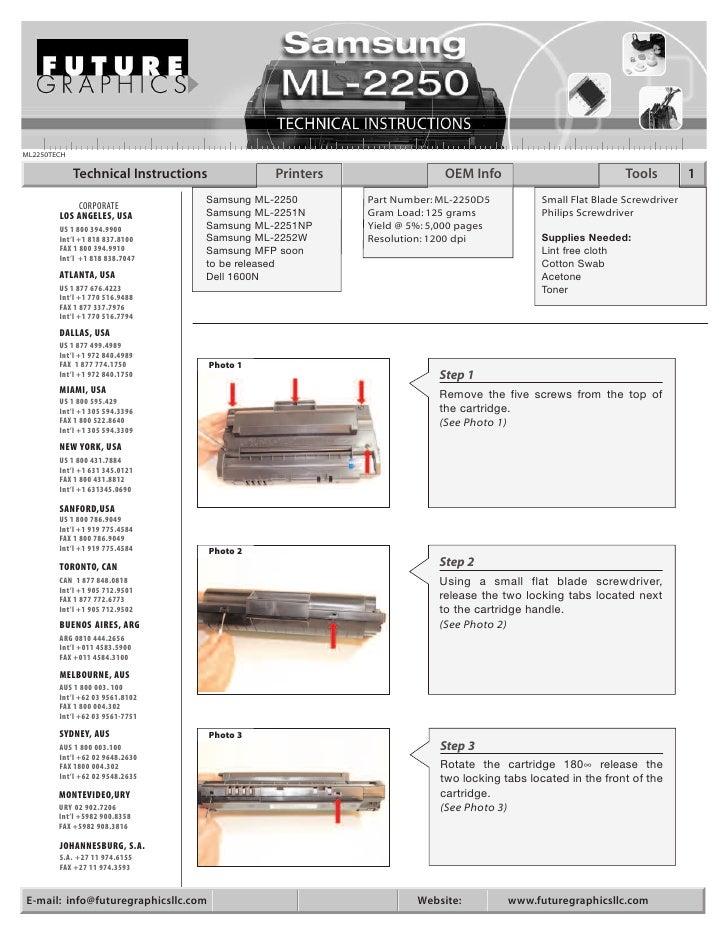 Manual de Recarga Samsung ML 2250 | ML 2251N | ML 2251NP | ML 2251W | ML 2250
