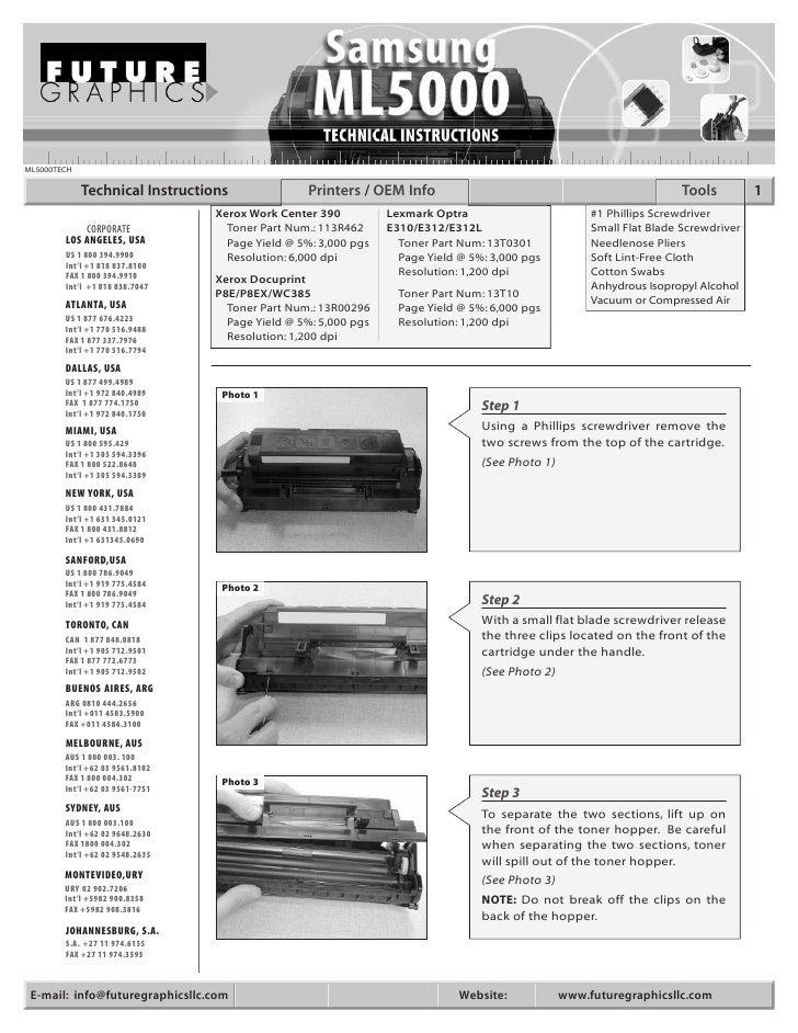 Manual de Recarga Samsung 5050 | 5100 | 5500 | ML 5000