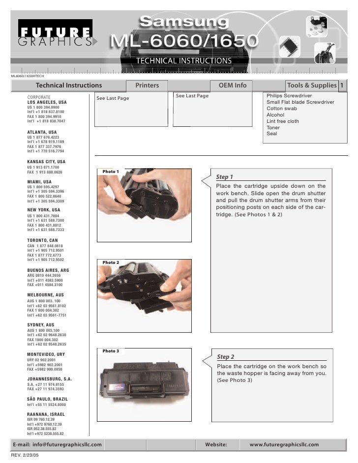 ML6060/1650HTECH              Technical Instructions              Printers                    OEM Info                  To...