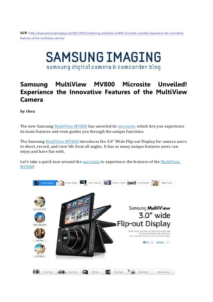 Samsung MultiView MV800 Microsite Unveiled!