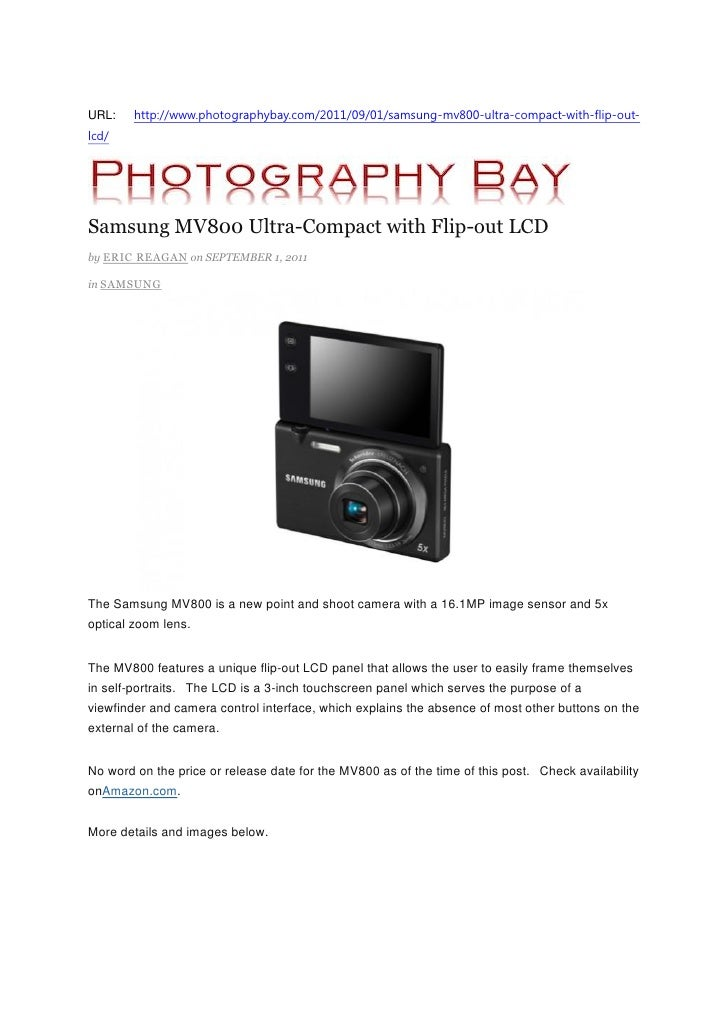 Samsung MV800 Ultra-Compact with Flip-out LCD (Photography Bay)