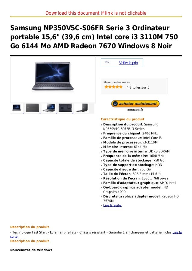 """Download this document if link is not clickableSamsung NP350V5C-S06FR Serie 3 Ordinateurportable 15,6"""" (39,6 cm) Intel cor..."""