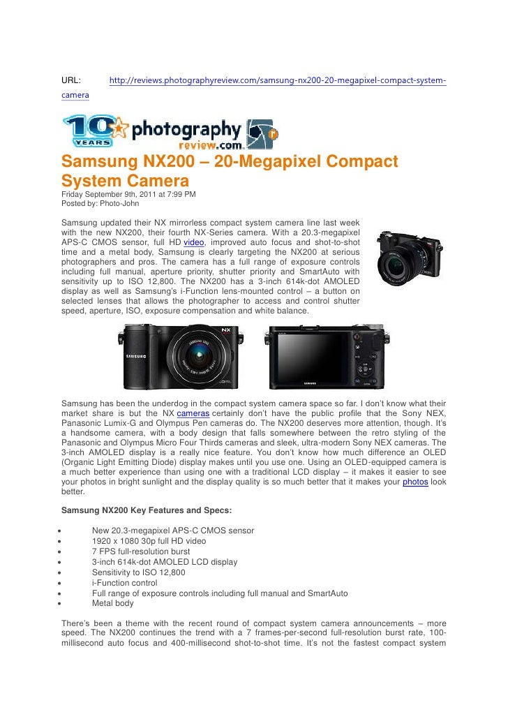 Samsung NX200 – 20-Megapixel Compact System Camera (Photography Review.com)