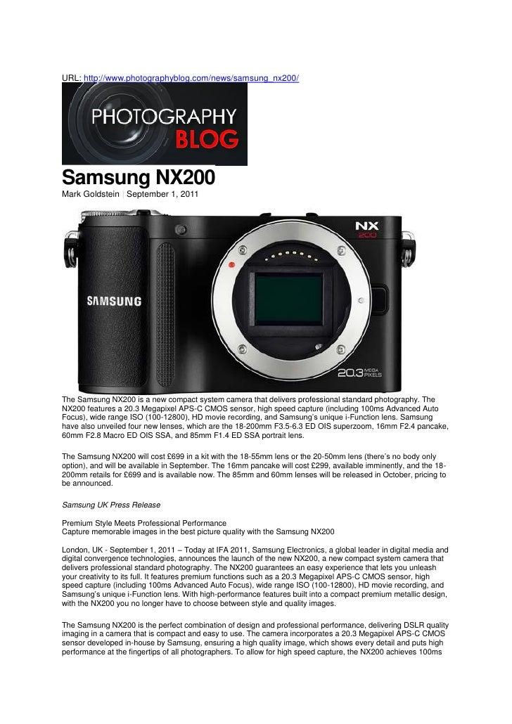 Samsung NX200 (Photography Blog)