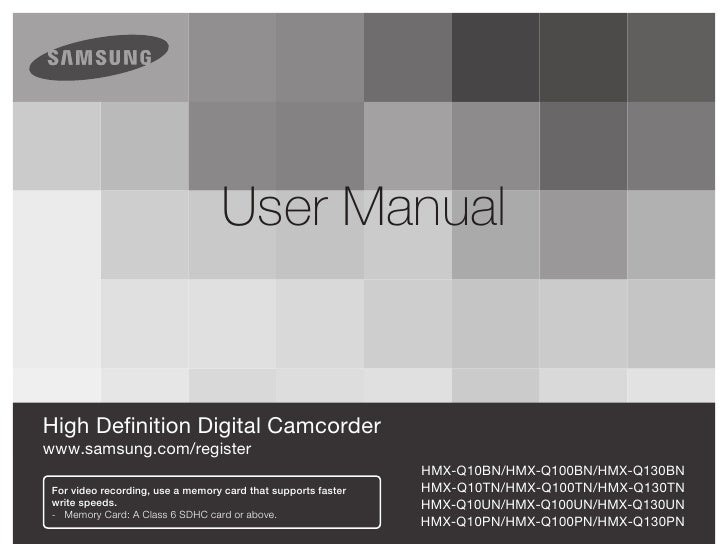 Samsung Camcorder Q10 User Manual