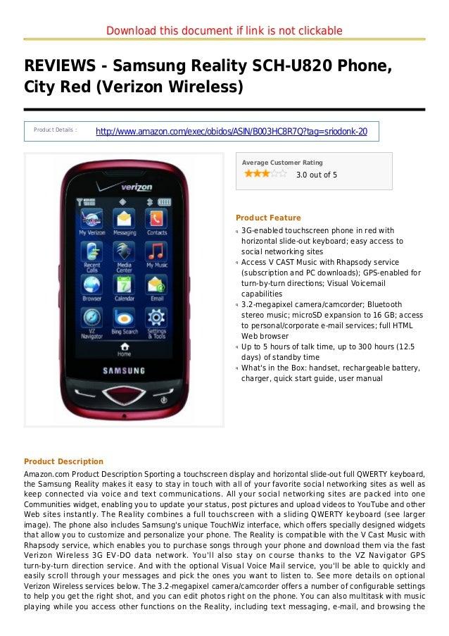 Samsung reality sch u820 phone city red verizon wireless
