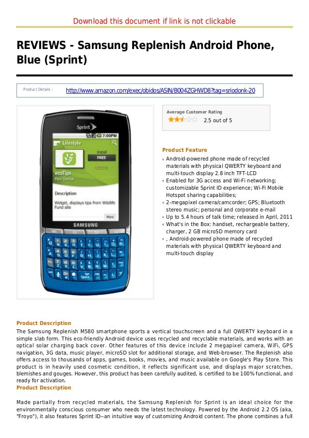 Download this document if link is not clickableREVIEWS - Samsung Replenish Android Phone,Blue (Sprint)Product Details :htt...