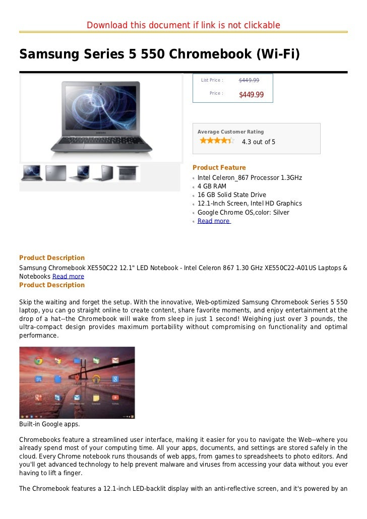 Download this document if link is not clickableSamsung Series 5 550 Chromebook (Wi-Fi)                                    ...