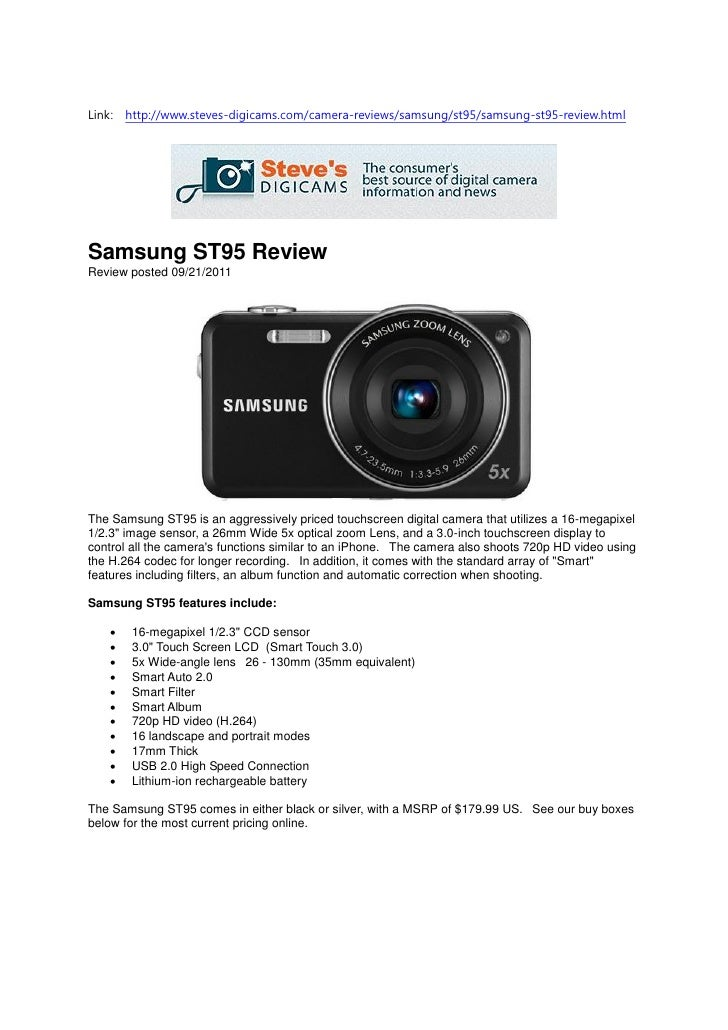 Samsung ST95 Review (Steves-digicams)