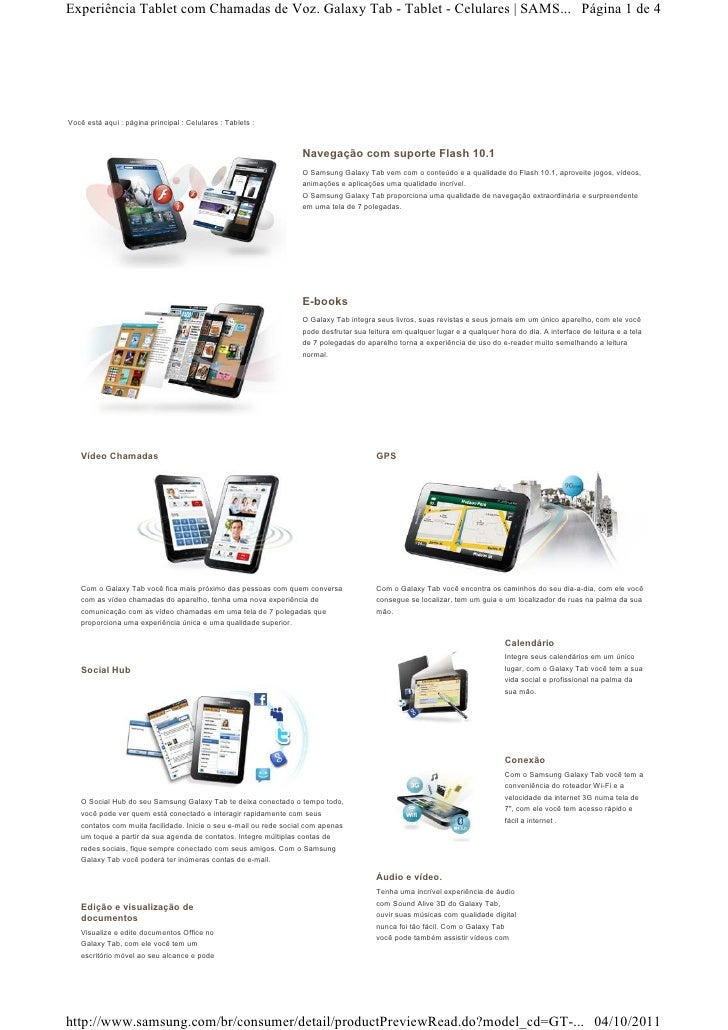 Experiência Tablet com Chamadas de Voz. Galaxy Tab - Tablet - Celulares   SAMS... Página 1 de 4Você está aqui : página pri...
