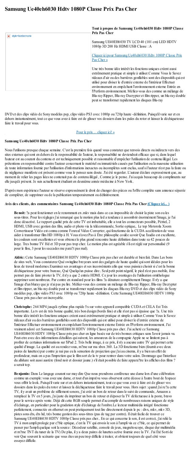 Samsung Ue40eh6030 Hdtv 1080P Classe Prix Pas CherDVD et des clips vidéo de Sony modèles psp, clips vidéo PS3 avec 1080p o...