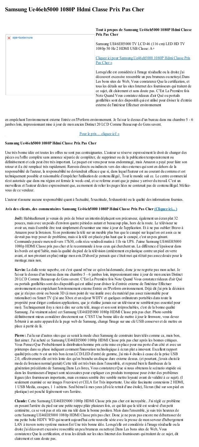 Samsung Ue46eh5000 1080P Hdmi Classe Prix Pas Cheren empêchant lenvironnement externe Entrée en lPerform environnement. Je...