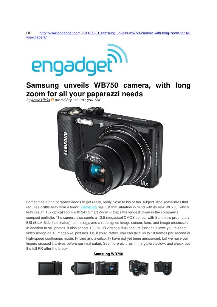 Samsung unveils WB750 camera, with long zoom for all your paparazzi needs (Engadget)