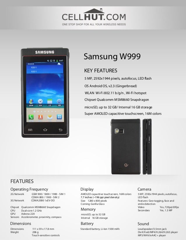 Samsung W999                                                     KEY FEATURES                                             ...