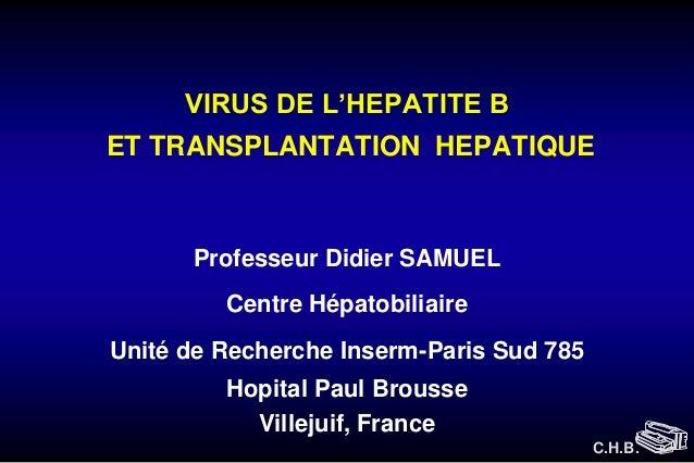 VIRUS DE L'HEPATITE B ET TRANSPLANTATION HEPATIQUE  Professeur Didier SAMUEL  Centre Hépatobiliaire Unité de Recherche Ins...