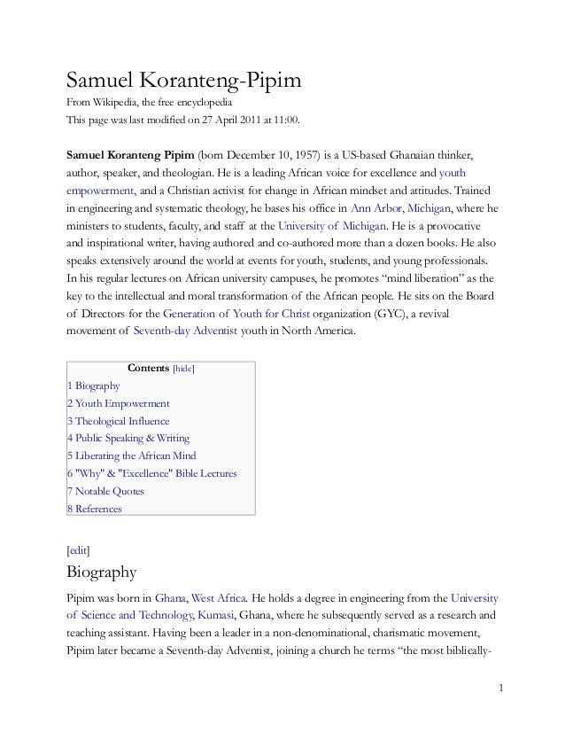 Samuel Koranteng-PipimFrom Wikipedia, the free encyclopediaThis page was last modified on 27 April 2011 at 11:00.Samuel Ko...