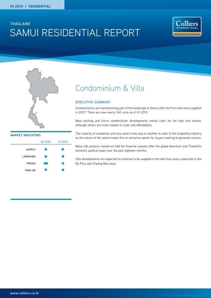 Samui Residential Market Report H1 2010