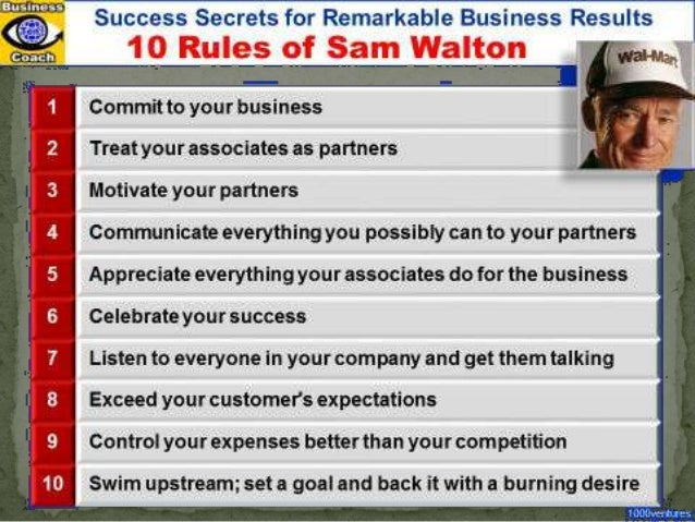 sam walton leadership Sam walton was an entrepreneur in the retail world he had a burning ambition and believed that spirited competition was good for business these characteristics combined with his inspiration lead me to think that sam walton would primarily be a controller.