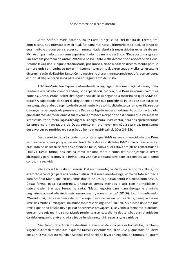 SAMZ mestre de discernimento Santo Antônio Maria Zaccaria, na 1ª Carta, dirige-se ao Frei Batista de Crema, frei dominican...