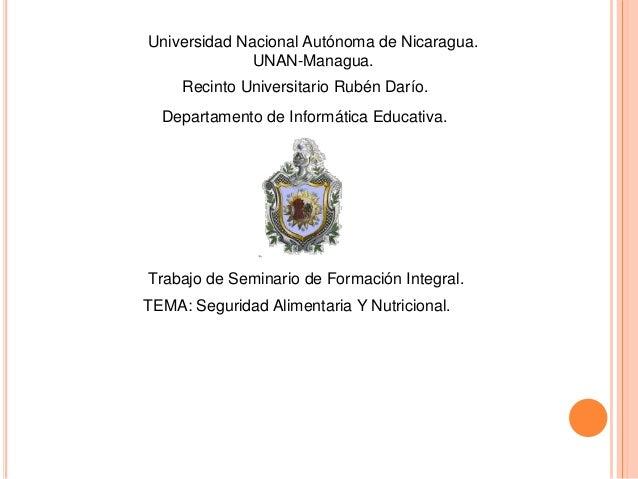 Universidad Nacional Autónoma de Nicaragua. UNAN-Managua. Departamento de Informática Educativa. Recinto Universitario Rub...