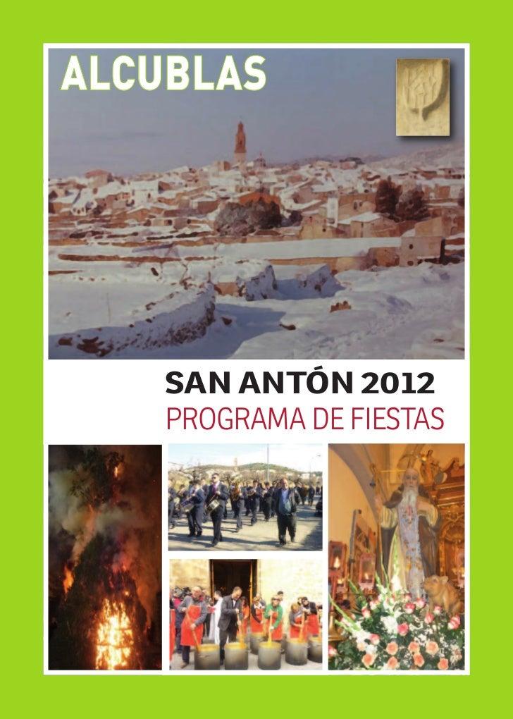 ALCUBLAS    SAN ANTÓN 2012    PROGRAMA DE FIESTAS