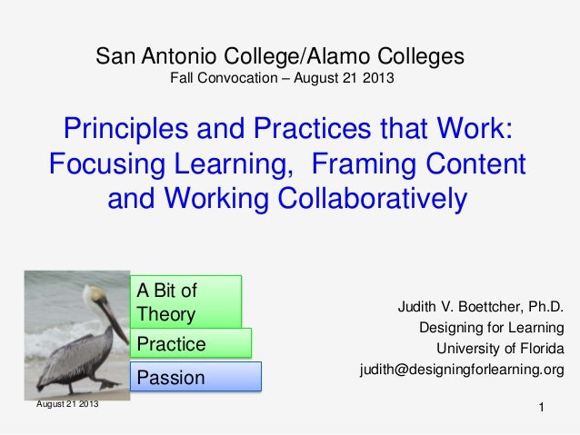 August 21 2013 1 Principles and Practices that Work: Focusing Learning, Framing Content and Working Collaboratively Judith...
