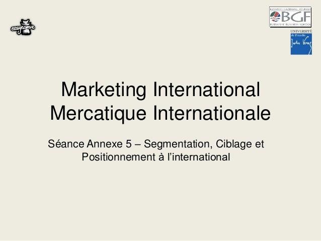 Séance annexe 5   segmentation, ciblage et positionnement à l'international
