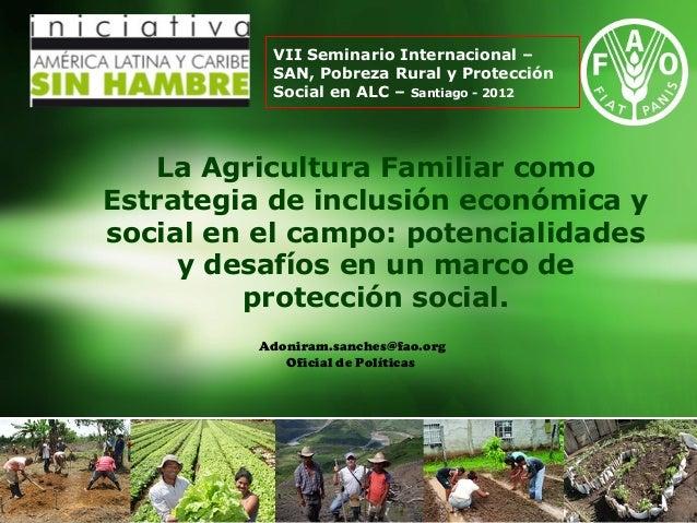 VII Seminario Internacional –          SAN, Pobreza Rural y Protección          Social en ALC – Santiago - 2012   La Agric...