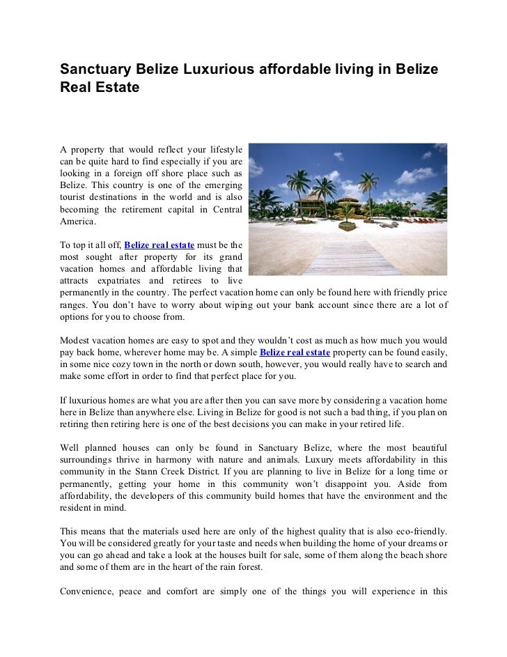 Sanctuary Belize Luxurious affordable living in BelizeReal EstateA property that would reflect your lifestylecan be quite ...