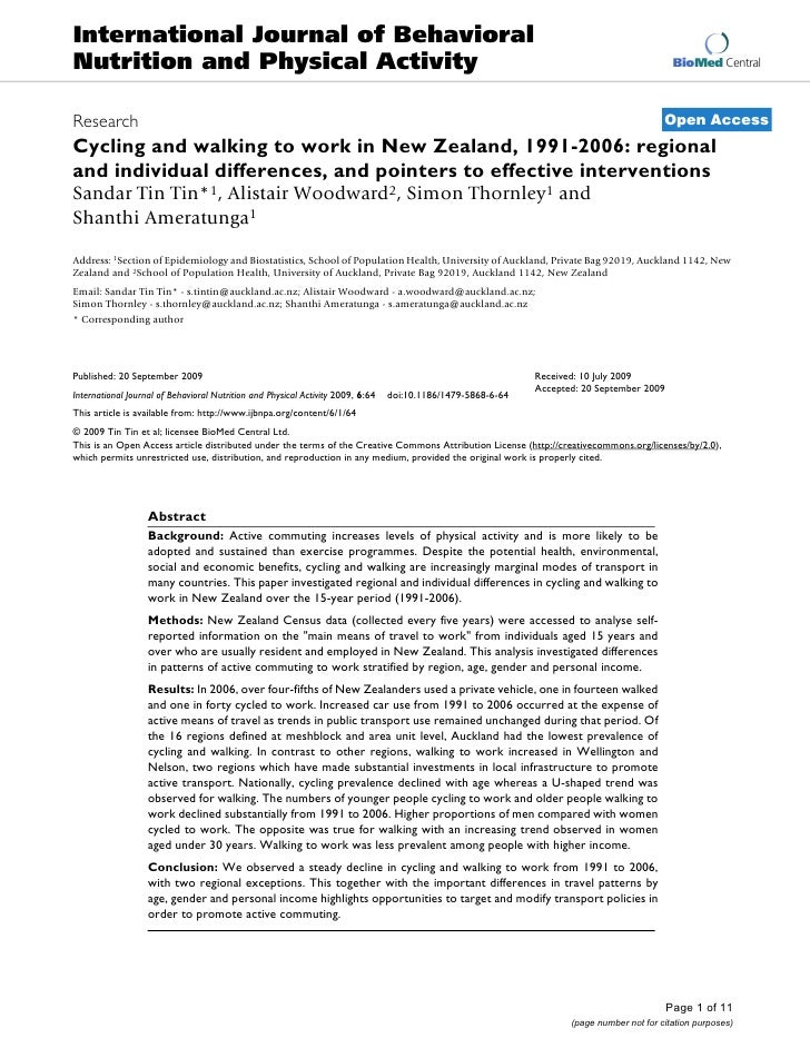 Regional and individual differences in cycling participation