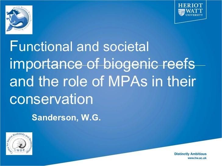 Functional and societal importance of biogenic reefs - Bill Sanderson