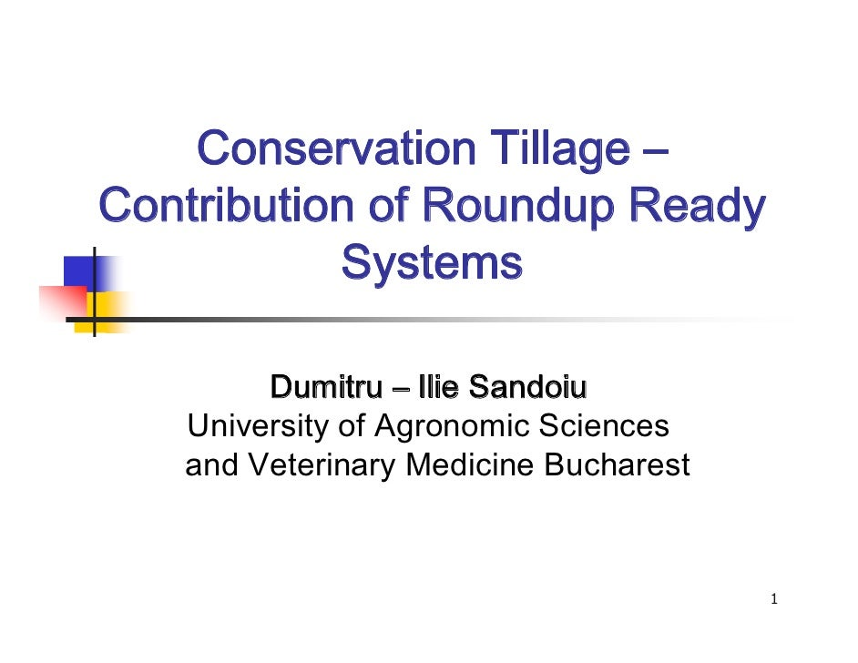 Conservation Tillage –Contribution of Roundup Ready           Systems        Dumitru – Ilie Sandoiu   University of Agrono...