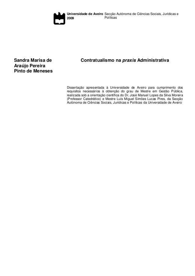 Universidade de Aveiro 2009 Secção Autónoma de Ciências Sociais, Jurídicas e Políticas Sandra Marisa de Araújo Pereira Pin...