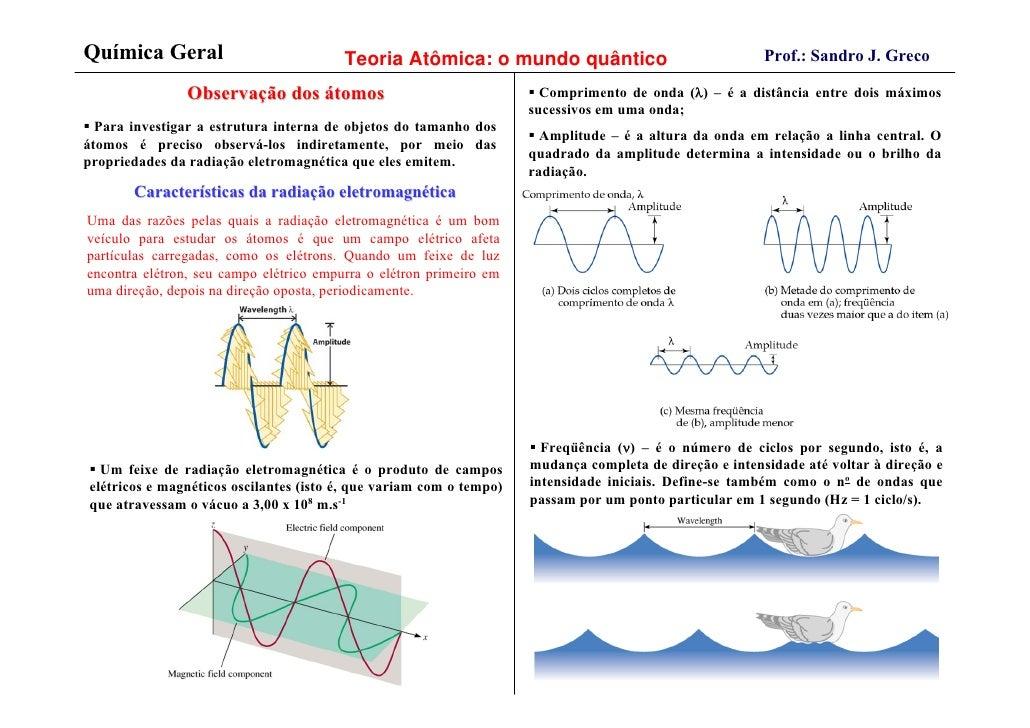 Química Geral                            Teoria Atômica: o mundo quântico                                Prof.: Sandro J. ...