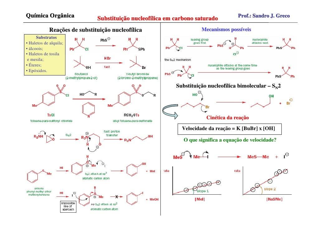 Química Orgânica               Substituição nucleofílica em carbono saturado          Prof.: Sandro J. Greco              ...