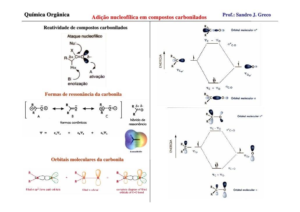 Química Orgânica           Adição nucleofílica em compostos carbonilados   Prof.: Sandro J. Greco        Reatividade de co...