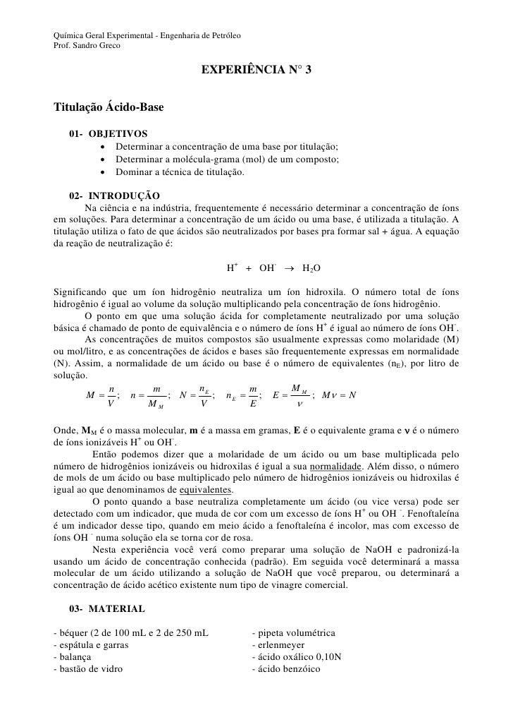 Química Geral Experimental - Engenharia de Petróleo Prof. Sandro Greco                                          EXPERIÊNCI...