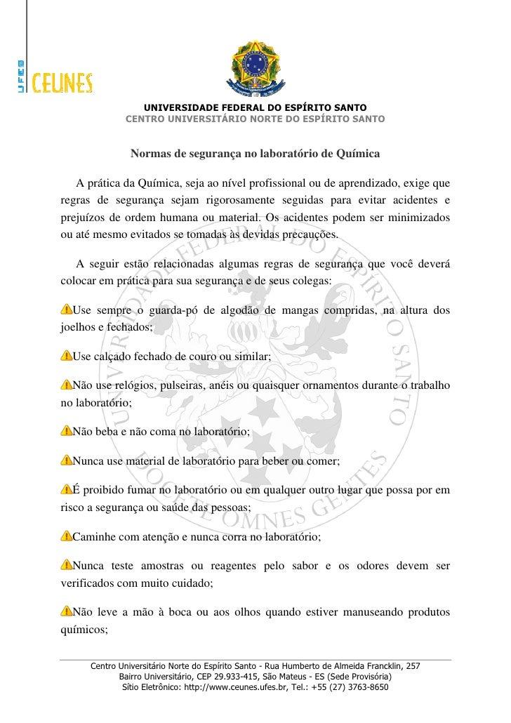 Sandrogreco Normas De SegurançA No LaboratóRio De QuíMica