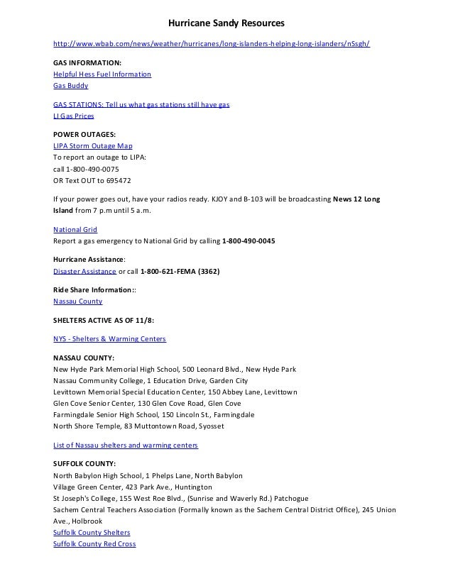 Hurricane Sandy Relief Resources