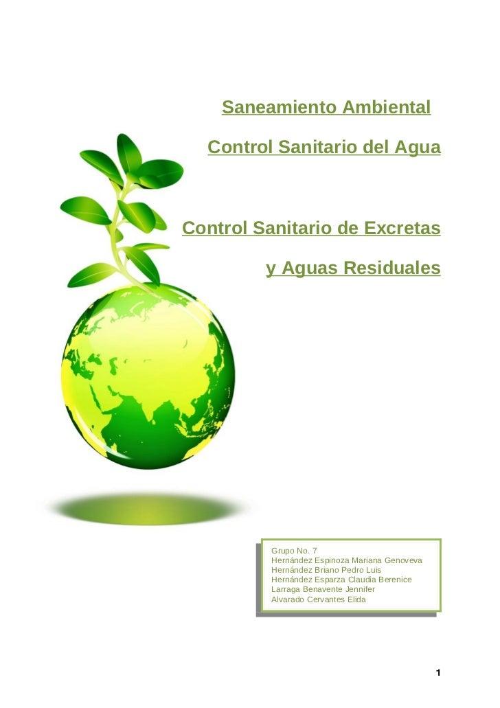 Saneamiento Ambiental    Control Sanitario del Agua    Control Sanitario de Excretas           y Aguas Residuales         ...
