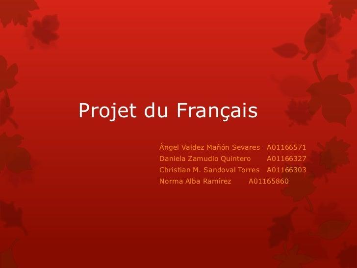 Projet du Français        Ángel Valdez Mañón Sevares A01166571        Daniela Zamudio Quintero       A01166327        Chri...