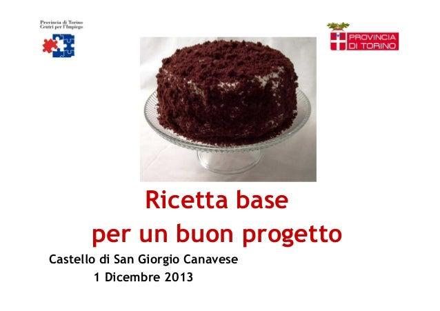 Ricetta base per un buon progetto Castello di San Giorgio Canavese 1 Dicembre 2013