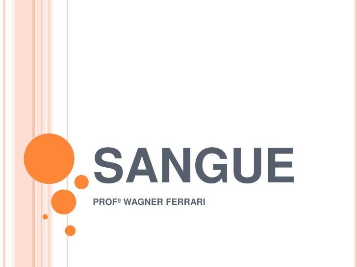 SANGUE<br />PROFº WAGNER FERRARI<br />
